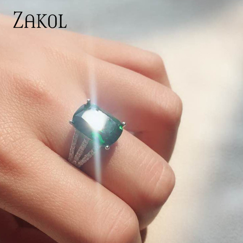 ZAKOL Classic Zirconia Crystal Ring Big Green Square CZ Stone Paved Women Jewelry For Brides Wedding Party Dinner Dress FSRP2014 ...
