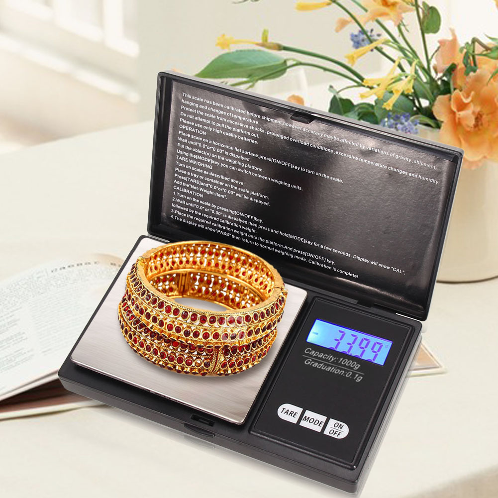 1000g x 0.1g Professional Mini Gram LCD Electronic Scale Pocket Digital Scale Jewelry Gold Diamond Weighting Balance Scale