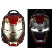 Cartoon Iron man 3D Light Eyes Hero Backpack Bag Zipper Book School bags Travel Laptop Gift