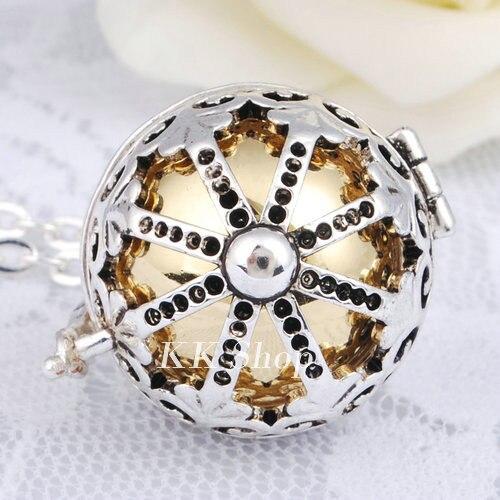 Беременность подарок для ребенка из черненого Медь в форме металлической птичьей клетки кулон ангел абонент Подвески 20 мм Музыкальный шар, гармония Bola кулон Цепочки и ожерелья H119