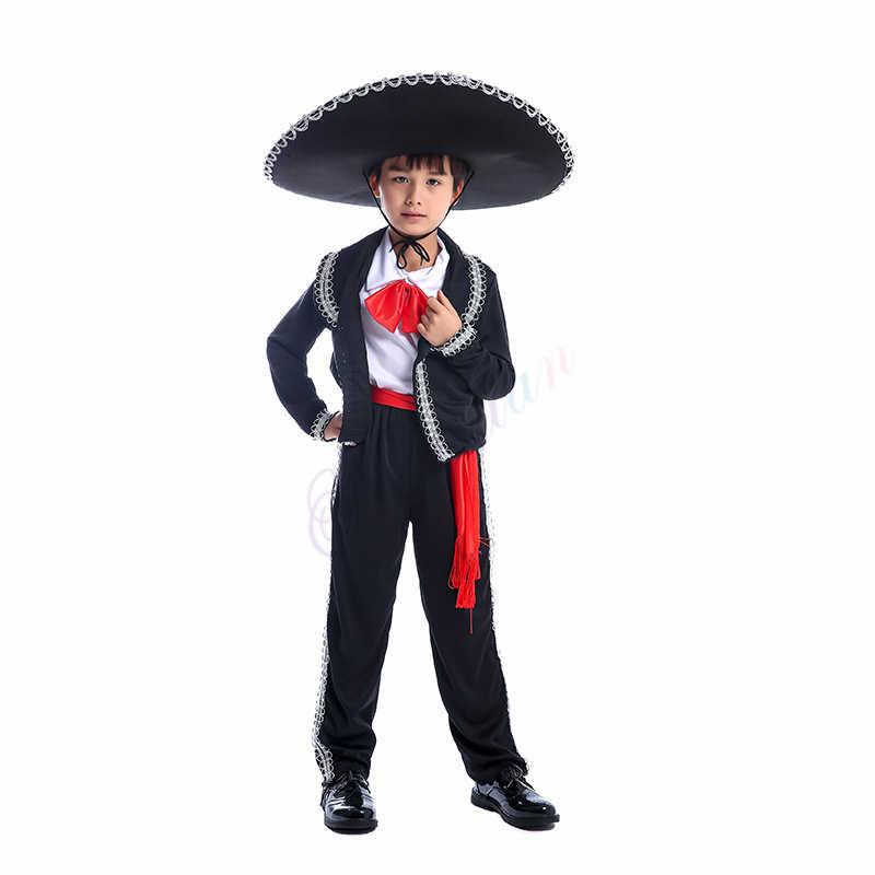 México Mariachi Amigo do dia das bruxas Partido Cosplay Roupas Traje de Dança Para Crianças Meninos Mexicano