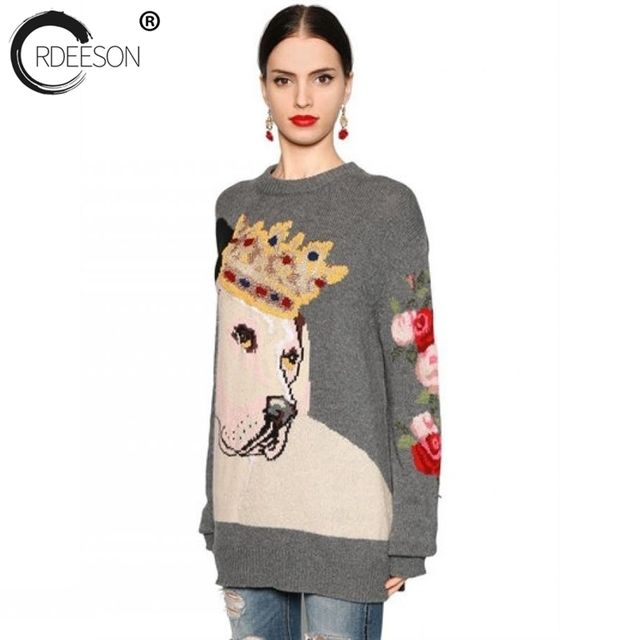 ORDEESON Cartoon Crown Dog Fall 2017 Fashion Winter Women Sweaters ...
