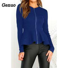 Genuo Fashion Crop Tops Womens Ladies Zipper Long Sleeve O-neck Lotus Leaf Hem T-shirt Elegant Women Autumn Tunic Coat