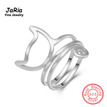 JaRia Fine Jewelry New s925 Sterling Silver Jewelry Twine Cat Ring 925 Sterling Silver Trendy Women Rings Adjustable SR001