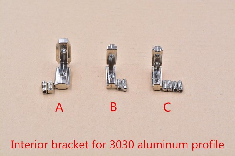 T slot L type 90 degree 3030 aluminum profile Inside bracket corner connector bracket with M5 screw M6 screws 1set 2 hole transition inside corner bracket for 3030 aluminum profile