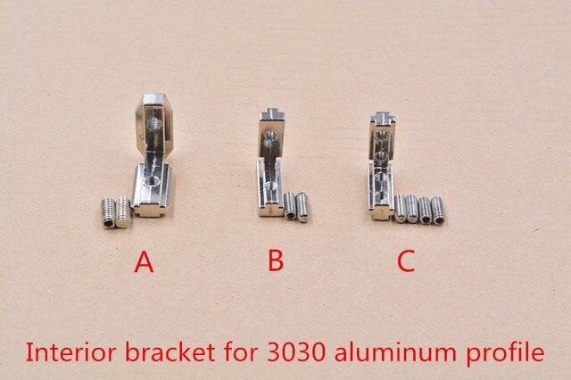 T slot L type 90 degree 3030 aluminum profile Inside bracket corner connector  with M5 screw M6 screws 1set