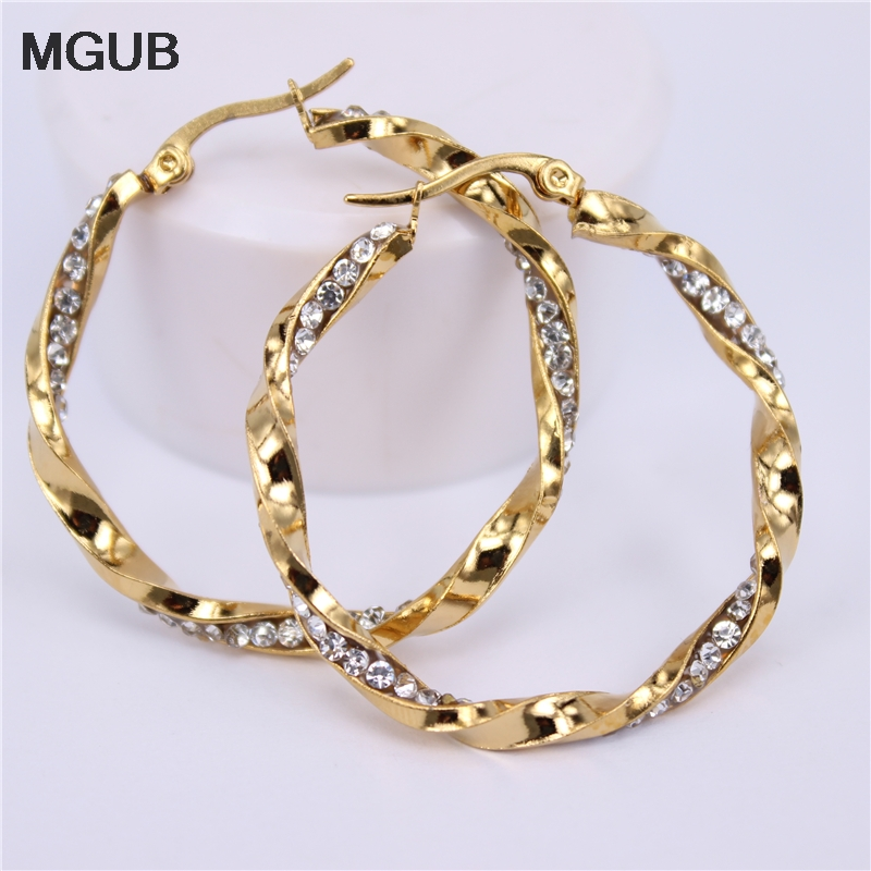 40mm and 50mm Stainless Steel Twisted Heart Hoop Earrings 30mm