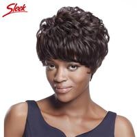 Sleek Virgin Human Hair Wigs #2 Human Hair Short Wigs for Black Women Cheap African American Wigs Brazilian Virgin Hair Wavy
