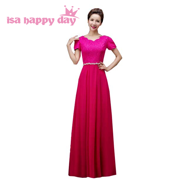 Fuschia Color Long Chiffon Bridesmaid Dresses Ivory 2018 Plus Size Braidsmaid Party Dress For Woman In