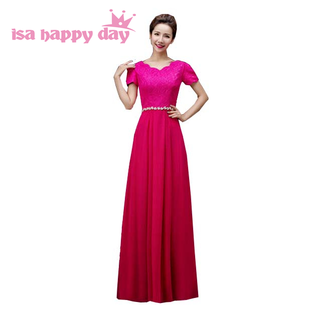 fuschia color long chiffon   bridesmaid     dresses   ivory 2019 plus size braidsmaid party   dress   for woman in royal blue H3118