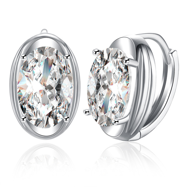 Silver Zircon Earrings White Oval Cubic Zirconia Ear Clip Women S E2117