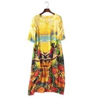 New 100% Quality Silk Ladies Bird Print Women Dress Luxury Silk Women Flower Gowns Mid Calf Length V Neck Female Summer Dress XL