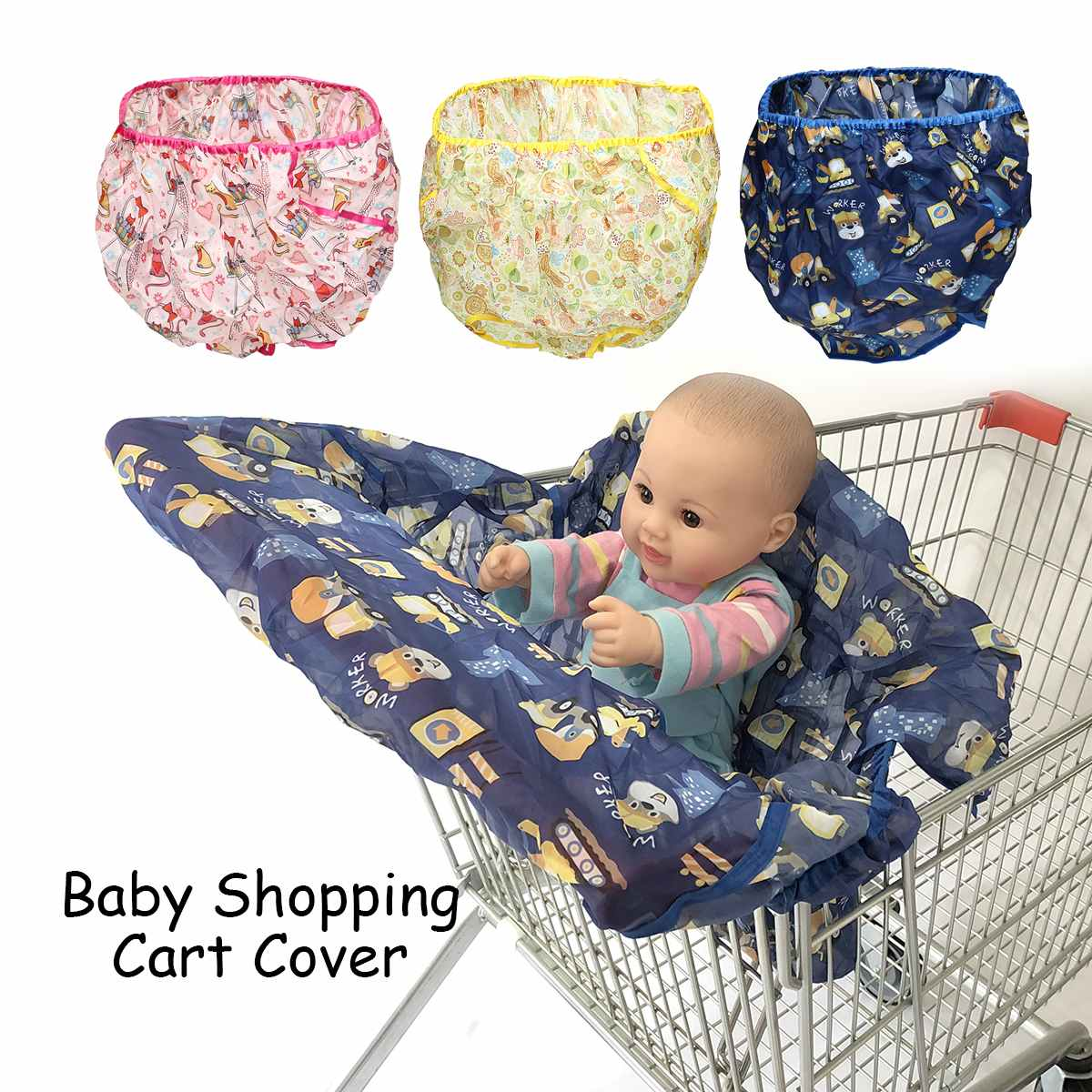 Breathable Baby Shopping Cart Cover Foldable Infant Kids Supermarket Cart Seat Pad Cushion Anti Dirty Shopping Bag +Storage Bag