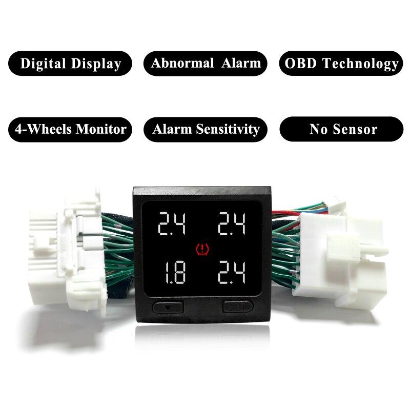 Commutateur numérique de système de surveillance de pression des pneus en temps réel TPMS OBD moniteur intégré bouton TPMS aucun capteur pour Toyota Camry 2018
