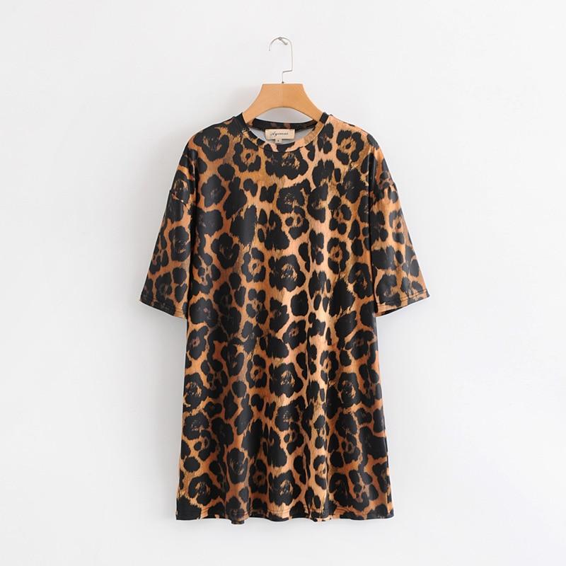 women vintage o neck short sleeve leopard print casual loose mini dress ladies straight vestidos fashion chic dresses DS1827