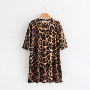 Femmes vintage col rond à manches courtes imprimé léopard décontracté mini robe ample dames robes droites mode chic robes DS1827