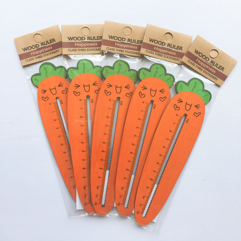 1X Kawaii Cute Smile Carrot Vegetable Straight Ruler Measure Study Drawing Student Stationery School Office Supply Gift