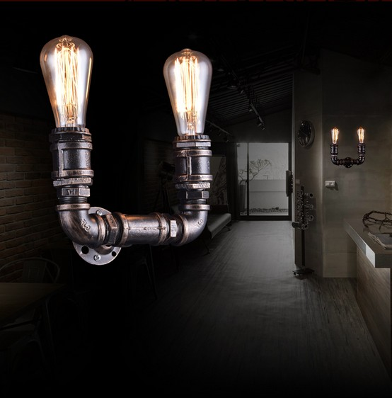 Loft Style Metal Water Pipe Lamp Edison Wall Sconce Retro Wall Light Fixtures For Home Vintage Industrial Lighting Lamparas retro loft style industrial vintage wall lamp edison wall sconce 2 lights water pipe wall light fixtures home lighting e27 bulb