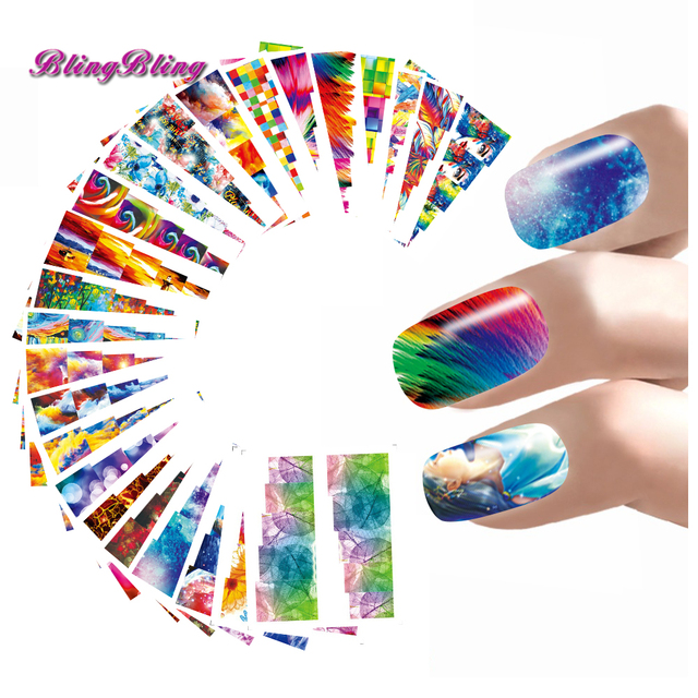 24style Abstract Nail Art Sticker Colorful Design Water Decals