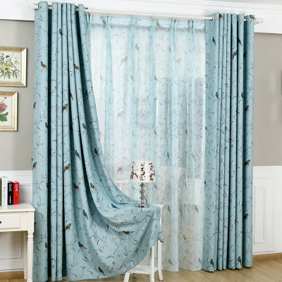 Bird Mediterranean IKEA Sided Blackout Curtains Custom Fresh Mint Green And Blue