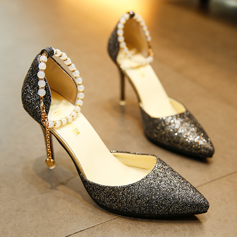 Woman Sandals High-Heeled Shoes Fashion Bling Pointed Wedding String Bead Thin Heels Pumps 2017 Summer Style Shoes Woman Sexy phyanic bling glitter high heels 2017 silver wedding shoes woman summer platform women sandals sexy casual pumps phy4901