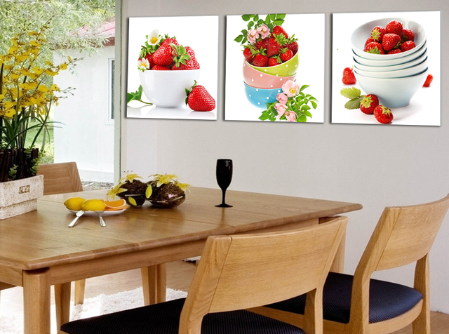 Unframed Fruit Strawberry Canvas Painting Modern Wall Paintings For Kitchen Picture Paint On