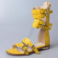 New Designer Woman Flat Buckle Sandal Summer Open Toe Buckle Strap Gladiator Sandal Boots Sexy Cut out Cage Shoes Yellow Black