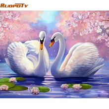 RUOPOTY Frame Swan Animals DIY Painting By Number Modern Handpainted Oil Painting Acrylic Paint By Numbers For Home Decor 40x50(China)