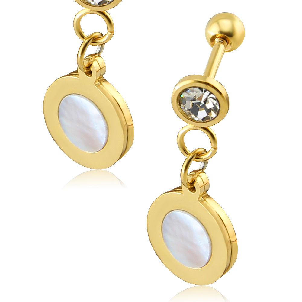 1 Pair Beautiful Cartilage Earrings Stud Gold Color With White Crystal Ear Cartilage  Earrings Fake Mother Pearl Stud Earring