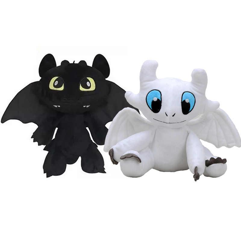2 pçs/set como treinar seu dragão 3 brinquedo de pelúcia luz fúria macio dragão branco animais de pelúcia boneca para crianças meninas crianças presentes