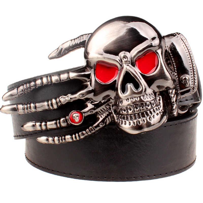 Moda erkek kemeri kafatası toka kafatası el Ağır metal kaya kafatası kemer tokası iskelet kafa şeytan el punk tarzı kemer