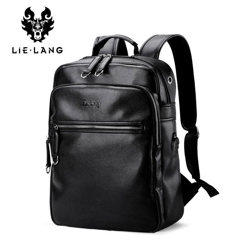LIELANG 2019 Men Backpack Fashion PU Leather Backpacks Laptop Bags External USB Charge Computer Antitheft Backpack