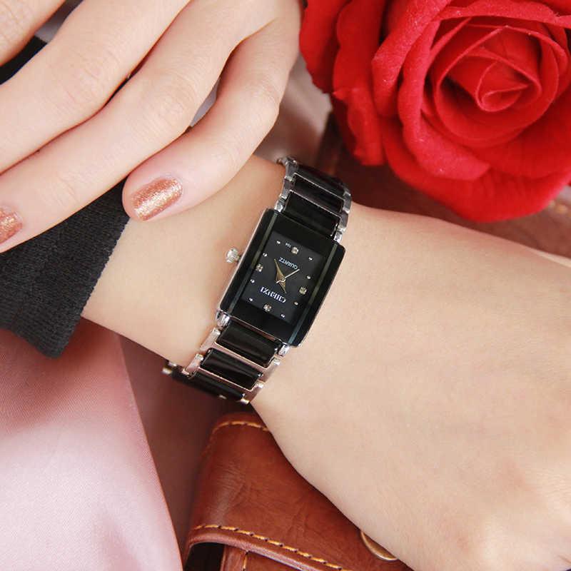 Luksusowa marka CHENXI eleganckie kobiety zegarek Rhinestone biały srebrny prosty stylowy ceramika bransoletka zegarek kwarcowy w stylu Casual, damska