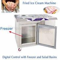 55cm Pan 6 Compartments Fried Ice Cream Machine Ice Yogurt Maker with Digital Temperature Control Built in Freezer