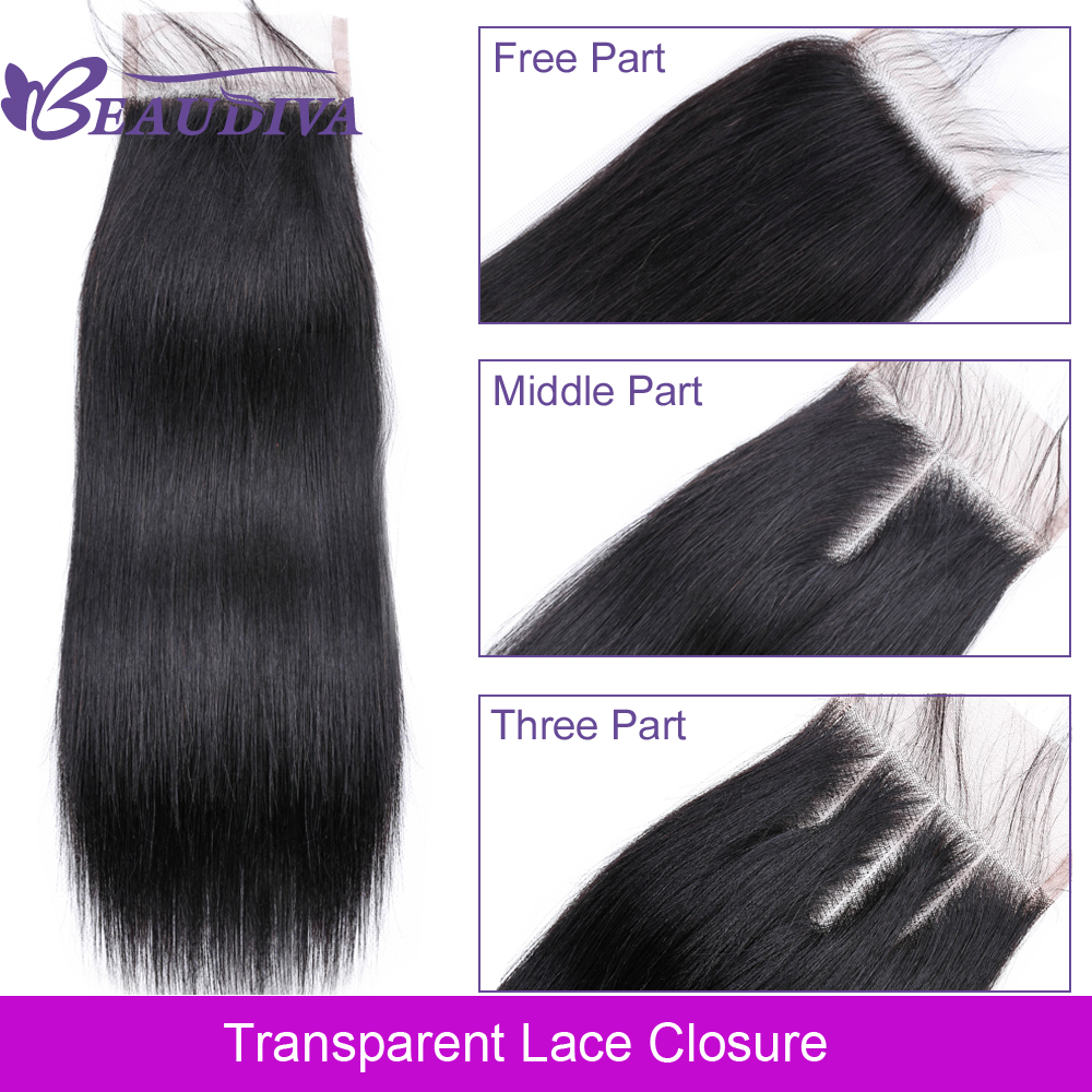 Beaudiva Brazilian Straight Hair Transparent Lace Closure Free/Middle/Three Part NonRemy Human Hair 4x4 Inch Swiss Lace Frontal