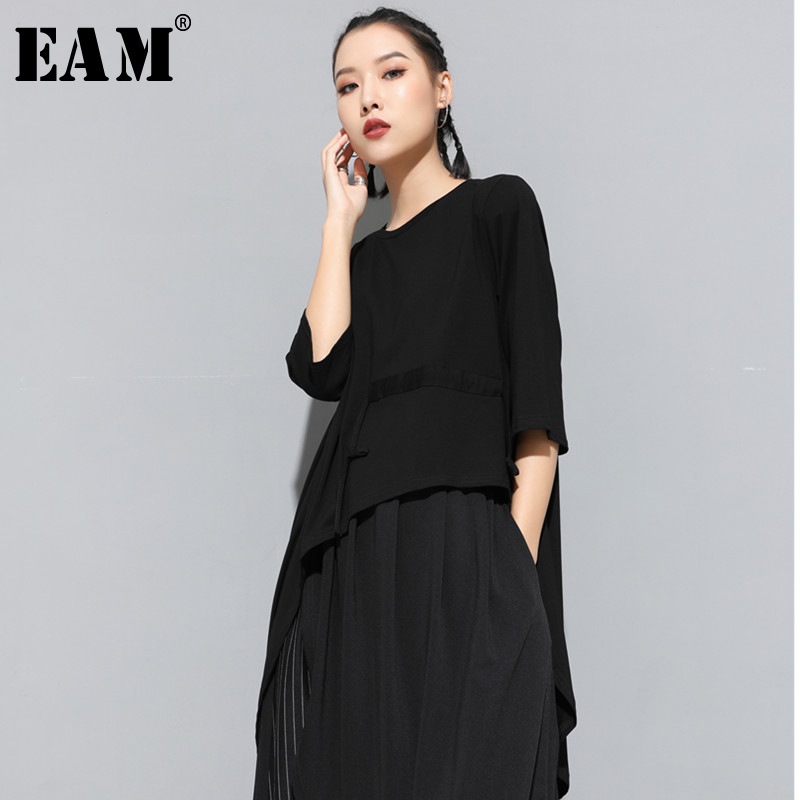 [EAM] 2020 New Spring Summer Round Neck Short Sleeve Black Drawstring Back Long Split Joint Loose T-shirt Women Fashion JS872
