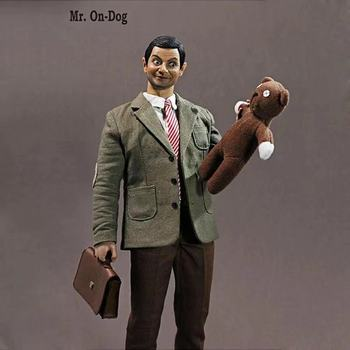 30cm Mr.bean Funny Movie Action Figure Toys with Real Clothes Eye Moveable Bear On Dog Figure PVC Model Moveable Collections action figure pokemon