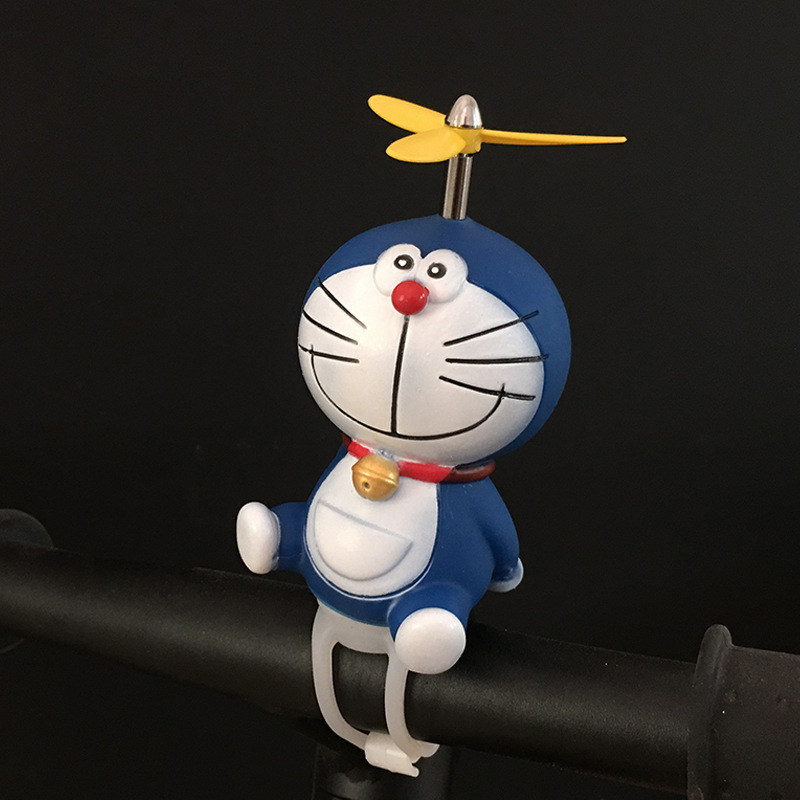 Personality Helmet Propeller Bamboo Poles More Blue Face Cat Small Yellow Duck Helmet Bicycle Horn Bell Bicycle Accessories.