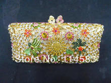 8208 MultiColor-B Floral Flower Lady Fashion Bridal Party hollow Metal Evening purse handbag clutch bag case