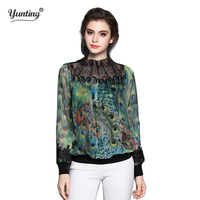 High Qualtiy 2017 Autumn Women Tops Stand Collar Silk Embroidery Peacock Print Green Blouse Pullover Shirt