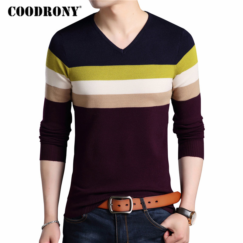 COODRONY Sweater Men Clothes 2018 Autumn Winter Thick Warm Cashmere Wool Sweaters Casual Striped V-Neck Pullover Men Jersey 8117