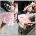 Pink Long Sleeve Short Lace Cocktail Dresses Knee ength Coctail Dress for Graduation Party Gowns jurk vestidos de coctel