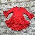 Девушки Зима и Осень платье детей платье новорожденных девочек Asymmertrical платье твердые хлопка одежды flare с длинным рукавом платье