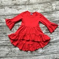 girls Winter and Fall dress kids dress baby girls Asymmertrical dress solid cotton clothes flare long sleeve party dress