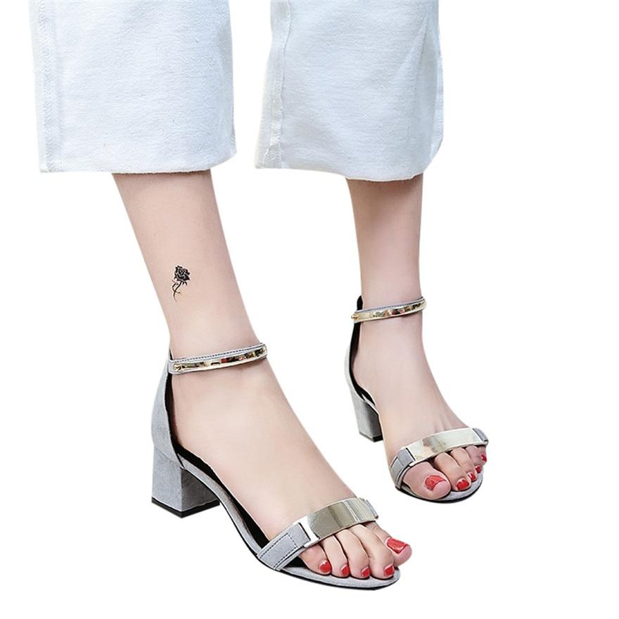 Ladies Sandals Block High-Heels Wedges-Shoes Ankle Femme Fashion Women Open Nouveau Party