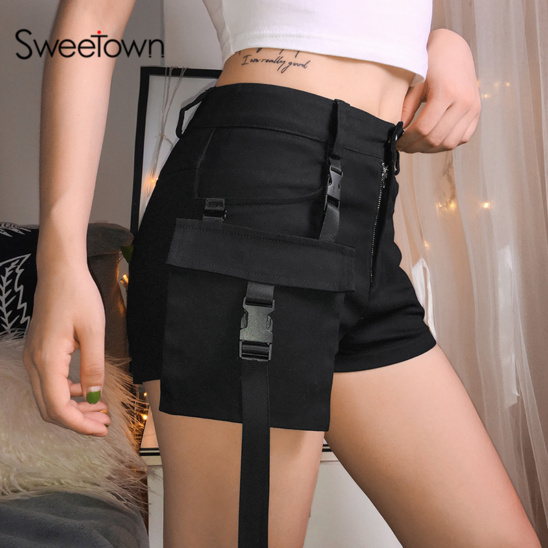 Sweetown Black Solid Cargo Shorts Women Detachable Pockets With Buckle Summer Shorts High Waist Short Feminino Streetwear
