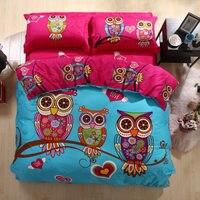 Fashion Cartoon Bird Owl Pattern Bedding Set Twin/Queen/King Size Duvet Cover Pillowcase Bed Sheet Cotton Home Textiles 4pcs