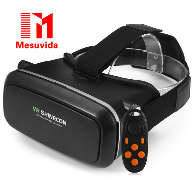 VR SHINECON 3D Virtual Reality Head-Mounted 3D Video Glasses B100 Bluetooth 3.0 Remote Controller for 4.7 - 6.0 inch Smartphone