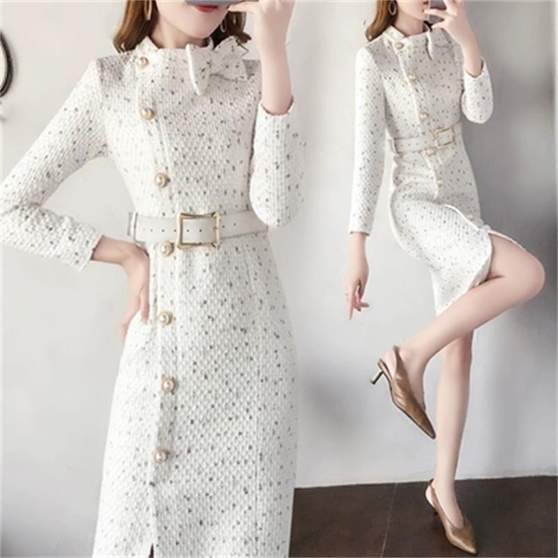 Épaississement Plus Laine Tweed 1 Gamme Hiver De printemps Femmes Robes Tempérament Féminine Plaid Cour Taille Haut Nouveau La Robe q6wz5