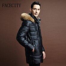 Зимняя куртка мужчины Марка вниз пальто Высокое качество Енот норка с капюшоном мужской длинный дизайн пуховик F668